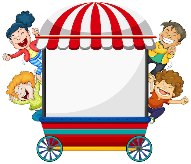 Hintergrunddesign mit vier glücklichen kindern und wagen