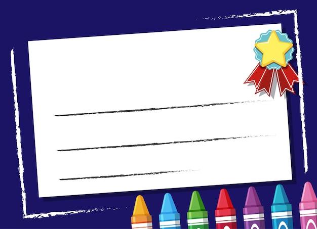 Hintergrunddesignvorlage mit buntstiften und stern