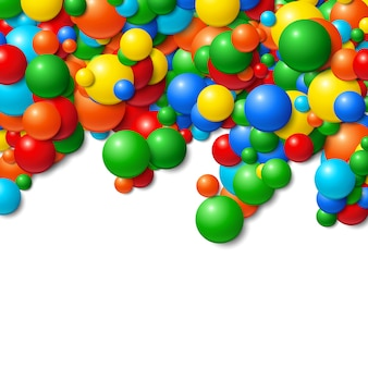 Hintergrundfeld mit scatterd unordentlichen glühenden gummibällen
