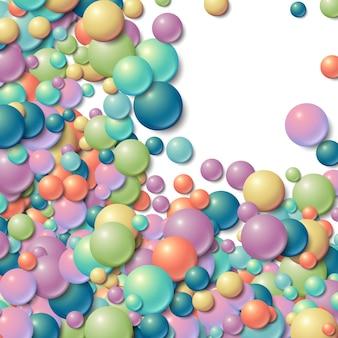 Hintergrundfeld mit zerstreuten unordentlichen glühenden gummibällen