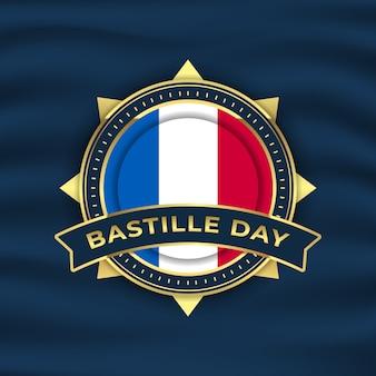 Hintergrundillustration des bastille-tages mit goldemblem und wehender flagge