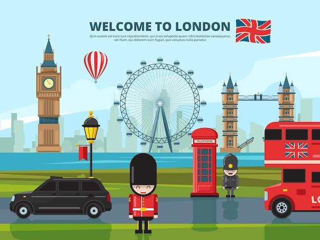 Hintergrundillustration mit londoner stadtlandschaft. wahrzeichen von england und großbritannien. urban london tower, wahrzeichen england architektur