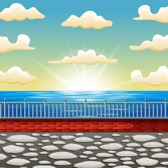 Hintergrundkarikatur eine schöne sonnenaufgangseeszene