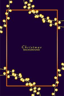 Hintergrundkranz aus weihnachtsbeleuchtung mit rahmen