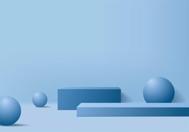 Hintergrundprodukte zeigen podiumszene mit geometrischer plattform. hintergrund-rendering mit podium. stehen, um kosmetische produkte zu zeigen. bühnenvitrine auf blauem studio mit sockeldisplay
