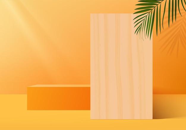 Hintergrundprodukte zeigen podiumszene mit geometrischer plattform. hintergrund-rendering mit podium. stehen, um kosmetische produkte zu zeigen. bühnenvitrine auf orangefarbenem studio mit sockeldisplay