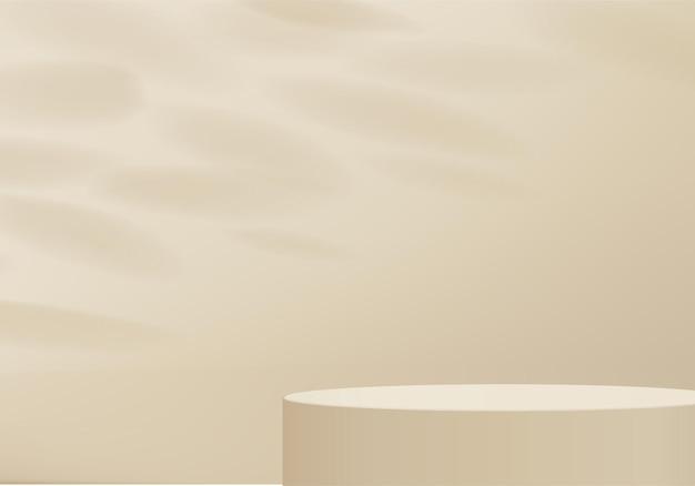 Hintergrundprodukte zeigen podiumszene mit geometrischer plattform. hintergrund-rendering mit podium. stehen, um kosmetische produkte zu zeigen. bühnenvitrine auf sockelanzeige beige studio