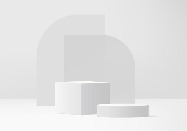 Hintergrundprodukte zeigen podiumszene mit geometrischer plattform. hintergrund-rendering mit podium. stehen, um kosmetische produkte zu zeigen. bühnenvitrine auf weißem studio mit sockeldisplay