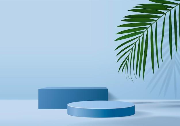 Hintergrundprodukte zeigen podiumszene mit grüner blatt geometrischer plattform an. hintergrund rendern mit podium. stehen, um kosmetische produkte zu zeigen. bühnenvitrine auf blauem studio mit sockeldisplay
