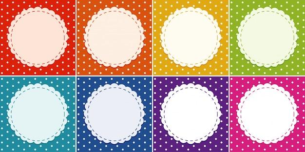 Hintergrundschablone in vielen farben mit rundem rahmen