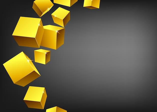 Hintergrundschablone oder bannerlayout mit gruppe von glänzenden goldmetallwürfeln