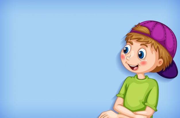Hintergrundschablonendesign mit glücklichem jungenlächeln