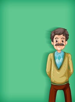 Hintergrundschablonendesign mit lächelndem alten mann