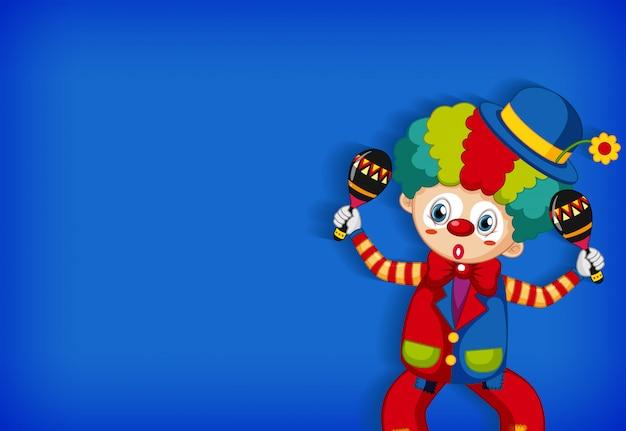 Hintergrundschablonendesign mit lustigem clown, der maracas spielt