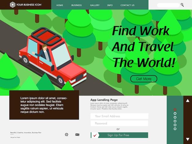 Hintergrundseite der reisenden website