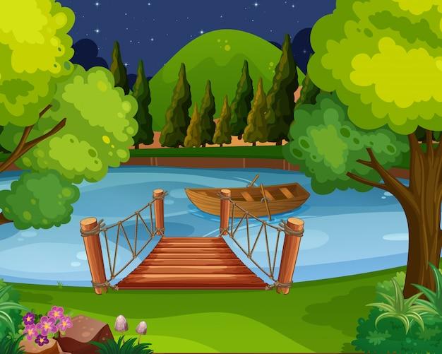 Hintergrundszene mit dem boot, das auf den fluss schwimmt