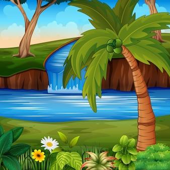 Hintergrundszene mit einem fluss und einem kokosnussbaum