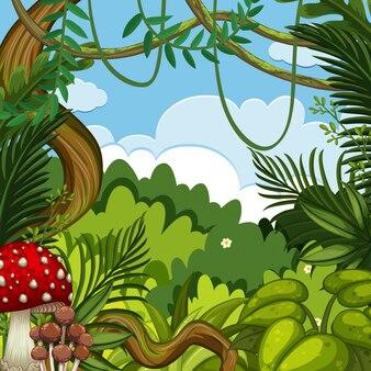 Hintergrundszene mit grünen bäumen im wald