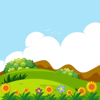 Hintergrundszene mit grünem Rasen