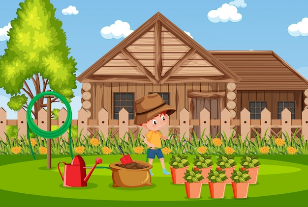 Hintergrundszene mit hölzernen haus- und jungenbewässerungspflanzen