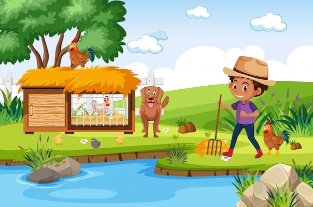 Hintergrundszene mit hühnerstall und farmboy