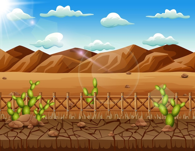 Hintergrundszene mit kaktus und trockenem land in der wüste