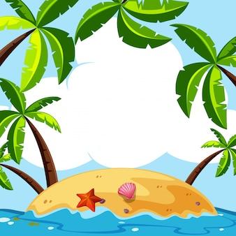 Hintergrundszene mit kokosnussbäumen auf insel
