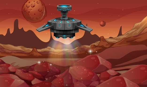 Hintergrundszene mit raumschifflandung auf planeten