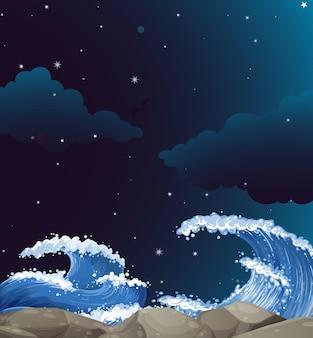 Hintergrundszene mit riesigen wellen in der nacht