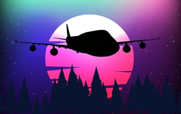 Hintergrundszene mit schattenbildflugzeug