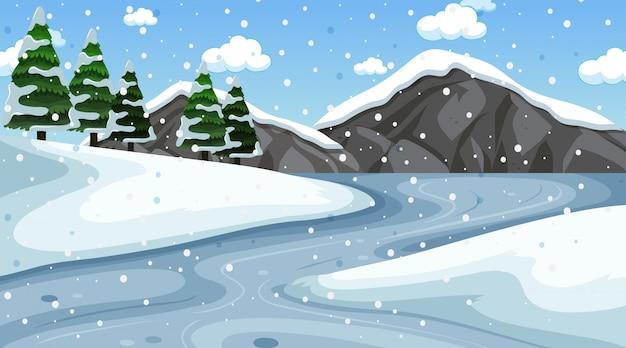 Hintergrundszene mit schnee im feld