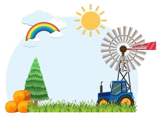 Hintergrundszene mit traktor und heu