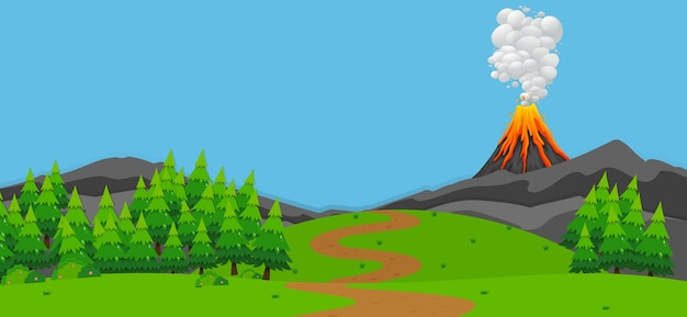 Hintergrundszene mit vulkan und wald