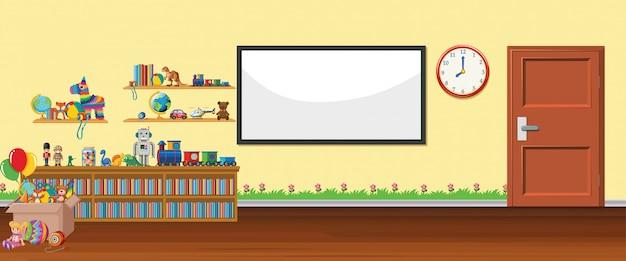 Hintergrundszene mit whiteboard und spielwaren