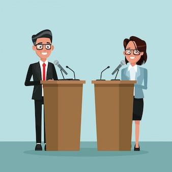 Hintergrundszenen-präsidentschaftskandidat spricht mit leuten von der tribüne