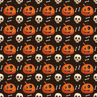 Hintergrundtapete des nahtlosen halloween-musters mit kürbisschädel und knochenskelettelement