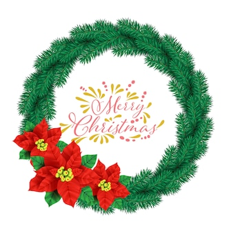 Hintergrundvektor der frohen weihnachten mit kiefernblattkranz