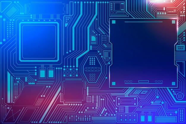 Hintergrundvektor der motherboard-schaltungstechnologie im farbverlauf blau