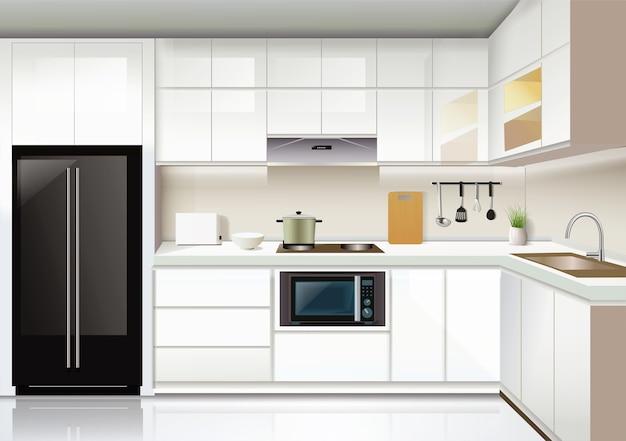 Hintergrundvorlage des modernen kücheninnenraums