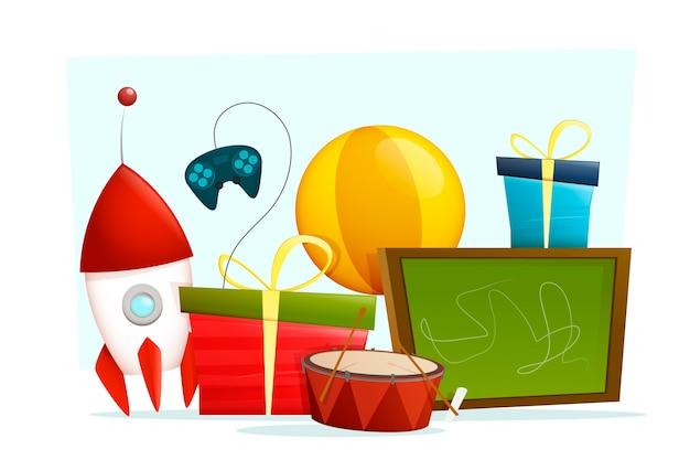 Hintergrundweihnachtsspielwaren im flachen design