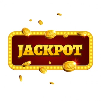 Hintergrundzeichen des jackpot casino labels. casino jackpot münzen geld gewinner text leuchtendes symbol isoliert auf weiß