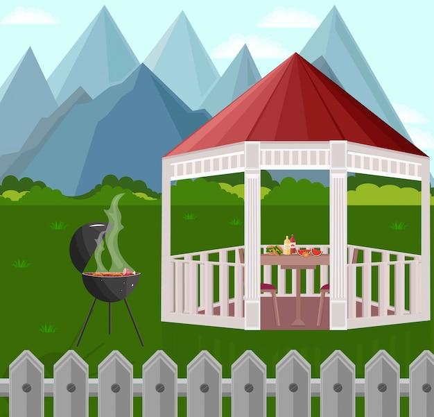 Hinterhof-gartenhaus-grill vektor-illustration-berge-hintergründe