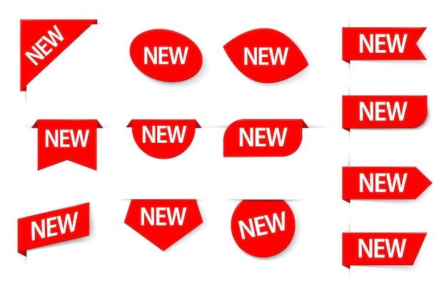 Hinweis-tag-markierung in neuem zustand, aufkleber-set für merchandise-aufkleber. beschreibender verkauf der exklusiven produktankunft, die spezielle rote etikette-vektorillustration für den einzelhandel isoliert auf weißem hintergrund