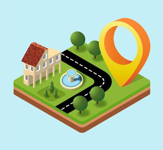 Hinweisschild in der stadt mit der lage von häusern, straßen und wohnorten