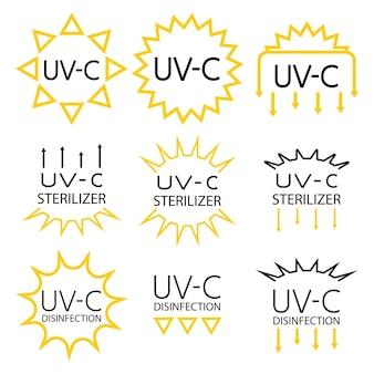 Hinweisschilder für verpackungskennzeichnungen mit uv-geräten im inneren. symbole für uv-c-sterilisator und desinfektionsstempel. hinweisschild für sanitärgeräte. aufkleber für ultraviolette geräte. vektor isoliert