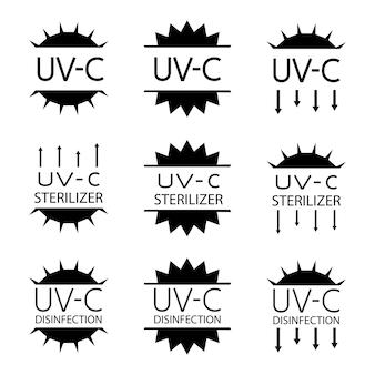 Hinweisschilder für verpackungskennzeichnungen mit uv-geräten im inneren. symbole für uv-c-sterilisator und desinfektionsstempel. hinweisschild für sanitärgeräte. runde abzeichen. vektor isoliert