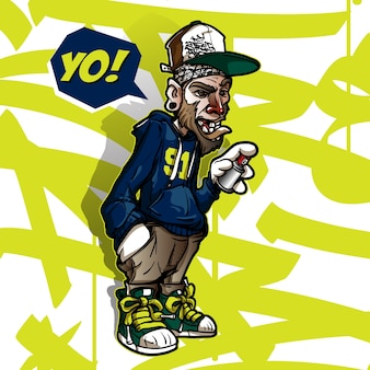 Hip-hop-graffiti-charakter