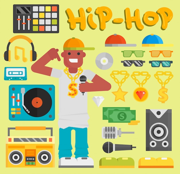 Hip hop mann musiker mit mikrofon breakdance ausdrucksstark rap modernen jungen rapper kerl tänzer trendigen lifestyle urban