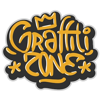 Hip hop verwandte tag graffiti beeinflusst label sign logo schriftzug für t-shirt oder aufkleber auf einem weißen hintergrund. bild.