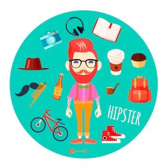 Hippie-charaktermann mit dem roten haarfälschungsschnurrbart und retro- zubehör